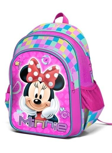 Minnie Mouse Minnie Kabartmalı İki Bölmeli Okul Çantası (Yaygan 73165) Pembe